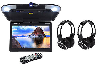 "Rockville RVM13FD-BK 13"" Black Flip Down Monitor w/ USB/SD+Wireless Headphones"