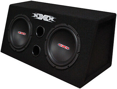 """Xxx Dual 8"""" Bass Box With Amplifier And Wiring Kit 800W Black Woofers"""