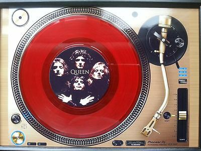 QUEEN 7'' Red Vinyl playing on a turntable Memorabilia Frame,Bohemian Rhapsody