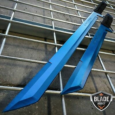 "27"" & 18"" NINJA SWORD SET Samurai Machete COMBAT FANTASY KNIFE Sheath BLUE SET"