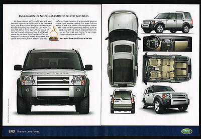 2005 Land Rover LR3 SUV 4WD Motor Trend Award 2 Page Photo Print Ad