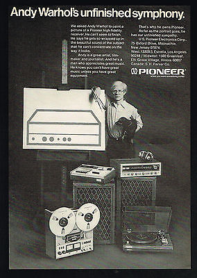 1974 Pioneer Stereo System Andy Warhol Photo Vintage Print Ad