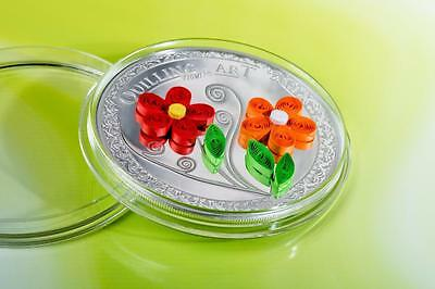 Cook 2016 2$ Quilling Art Flowers Unique .999 Silver Coin Mintage 999 Only!!!