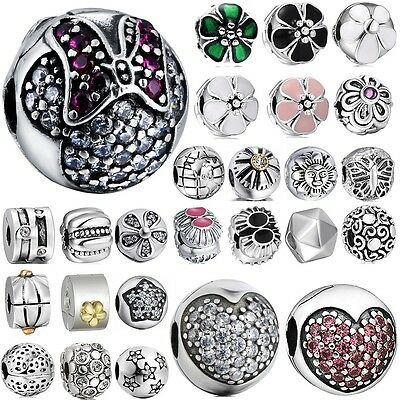 925 sterling silver clip spacer charm bead For European lot charms bracelet AU-L