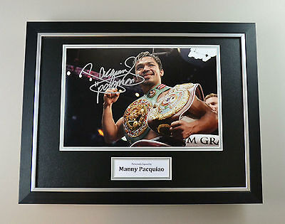 Manny Pacquiao Signed Photo Framed 16x12 Autograph Boxing Display Memorabilia