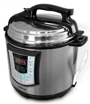 Nutrichef PKPRC22 6 Quart Digital Stainless Electronic Pressure/Slow Cooker