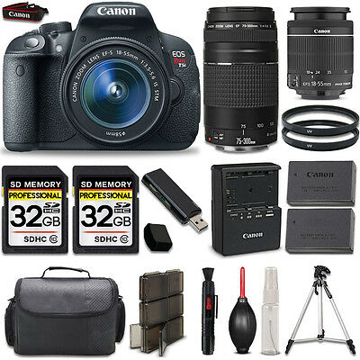 Canon EOS Rebel T5i Camera + 18-55mm IS Lens + 75-300mm + 64GB LOADED Bundle