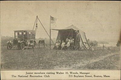 Boston MA National Recreation Club Camping Tent & Old Car c1910 Postcard