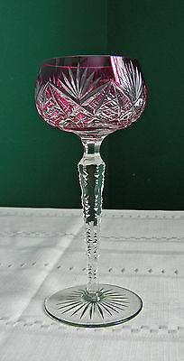 Val St Lambert Vintage Amethyst Cased Glass Cut To Clear Wine Hock