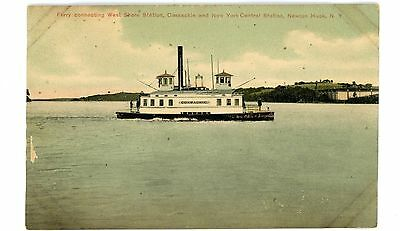 Coxsackie NY-HUDSON RIVER FERRY-WEST SHORE & CENTRAL RAILROAD STATION-Postcard