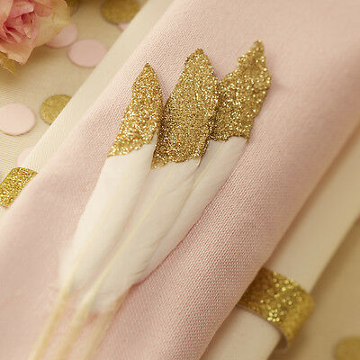 GOLD Glitter DIPPED White FEATHERS Confetti Wedding Table Decoration Party Craft