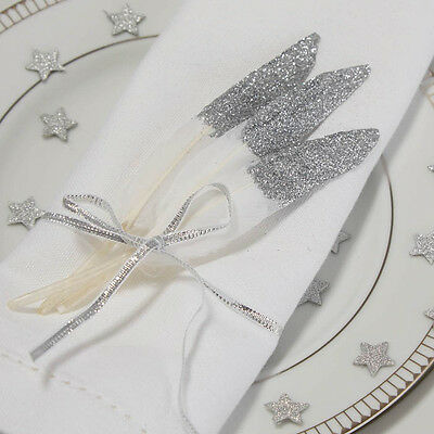 SILVER Glitter DIPPED White FEATHERS Confetti Wedding Table Decoration Craft