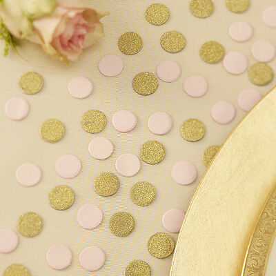 PASTEL PINK Gold Glitter Circle Table Confetti WEDDING Valentines DAY Decoration