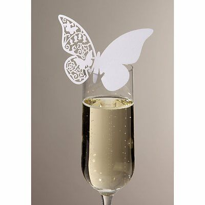 10 WHITE BUTTERFLY NAME PLACE CARDS For Glass Laser Cut Wedding Table Decoration