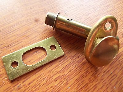 Vintage Brass Privacy Mortise Bolt & Catch for Bathroom or Cupboard Pantry Door