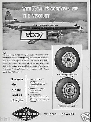 Taa Trans Australia Airlines Vickers Viscount Goodyear Tires 1955 Ad