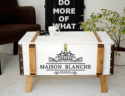 Shabby chic vintage pine trunk coffee table antique storage blanket box chest 2