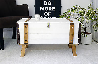 Shabby chic vintage pine trunk coffee table antique storage blanket box chest 3