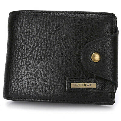 Fashion Men's Leather Bifold ID Card Holder Wallet Purse with Flap Coin Pocket