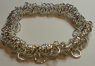 Stretch or bungee bracelet link chain ideal for charms Silver plated  X 6