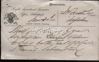 1882 NORFOLK AGRICULTURAL ASSOC. ILLUSd WITH PRINCE WALES CREST. MEMORANDUM.