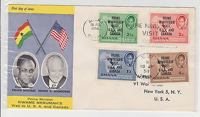 (FDC5X003) GHANA 1958 Kwame Nkrumah's Visit to USA Canada First Day Cover FDC
