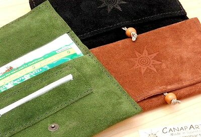 Rolling Tobacco Pouch Leather porta tabacco made in Italy! Suede brown