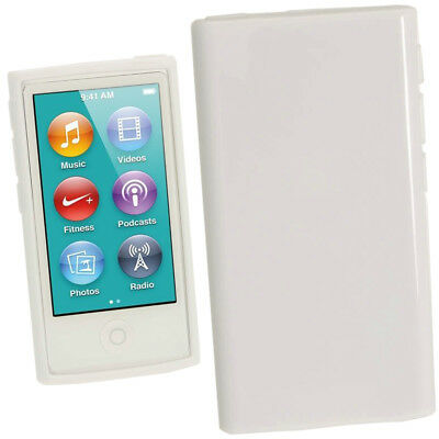 White Glossy TPU Gel Case for New Apple iPod Nano 7th Generation 7G Cover Shell