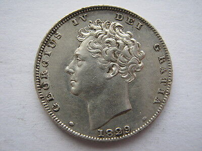 1829 Sixpence, GVF, dipped.