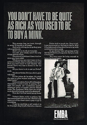 1970 Emba Mink Fur Coat Purchase Price Is Down Vintage Photo Print Ad