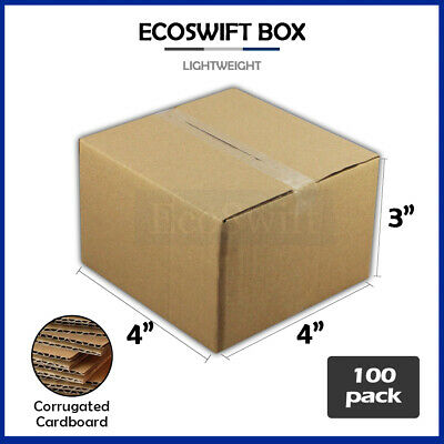 100 4x4x3 Cardboard Packing Mailing Moving Shipping Boxes Corrugated Box Cartons