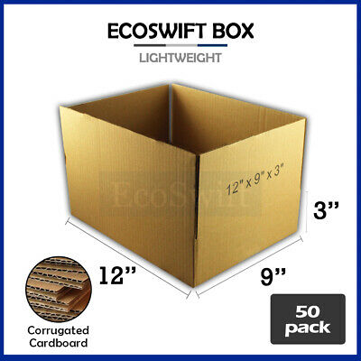 50 12x9x3 Cardboard Packing Mailing Moving Shipping Boxes Corrugated Box Cartons