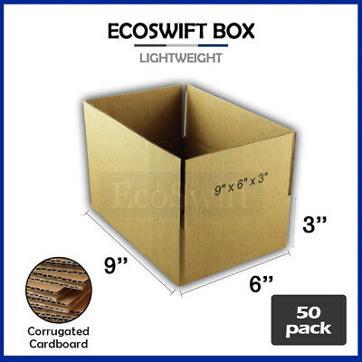 50 9x6x3 Cardboard Packing Mailing Moving Shipping Boxes Corrugated Box Cartons