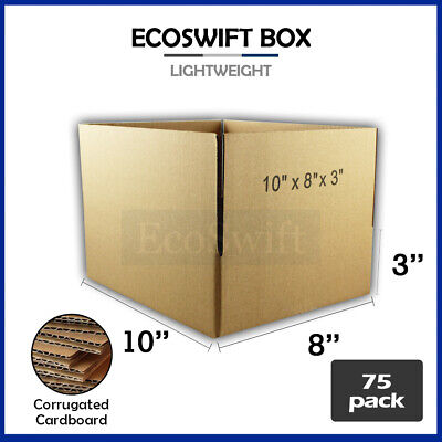 75 10x8x3 Cardboard Packing Mailing Moving Shipping Boxes Corrugated Box Cartons