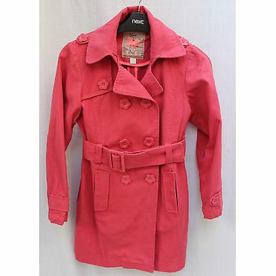 GIRLS NEXT Pink Cotton Double Breasted Mac Jacket Coat Flower Buttons 9-10 Years