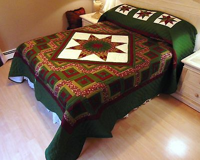 NEW! AMISH HANDMADE QUILT! ~ Star in the Cabin ~ 106 x 116