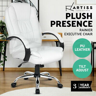 Executive Premium PU Leather Office Computer Work Chair Padded White Seat