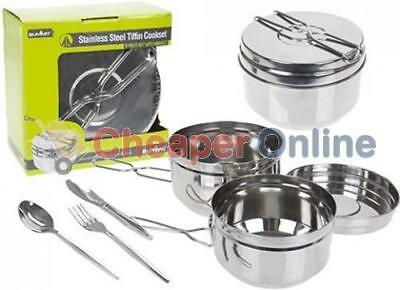 Stainless Steel Tiffin Style 6 Piece Cook Set Great For Camping / Caravanning