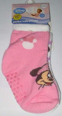 NEW MINNIE MOUSE BABY SOCKS 2 PK Pink White 6-12 18-24 mos