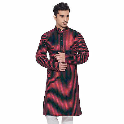 Men Full Sleeve Designer Indian Cotton Long Kurta Casual Wear Printed K 1276
