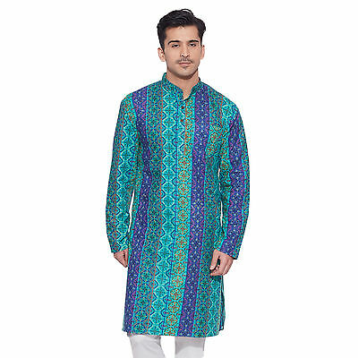 Men Full Sleeve Designer Indian Cotton Long Kurta Casual Wear Printed K 1511