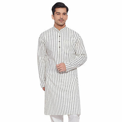 Men Full Sleeve Designer Indian Cotton Long Kurta Casual Wear Printed Kurta 3652