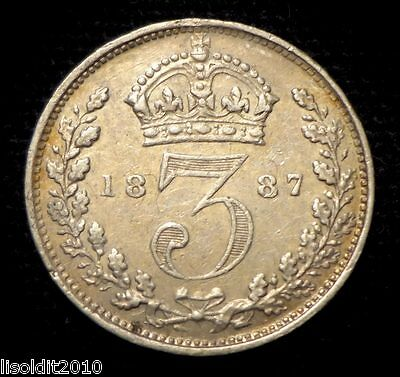 1887 Great Britain ~3 Pence ~ Victoria ~ veiled bust (Jubilee portrait) Silver!