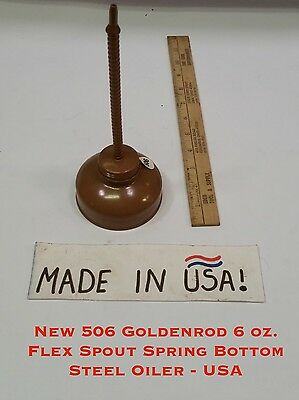 New 506 Goldenrod 6 oz. Flex Spout Spring Bottom Steel Oiler - USA