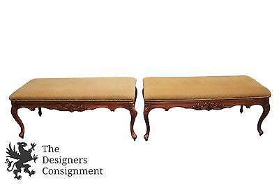 2 Vtg French Country Upholstered Window Benches Carved Oak Finish Louis Style