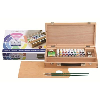 Talens Extra Fine Quality Designers Gouache Wooden Box Set. Artists Painting Set