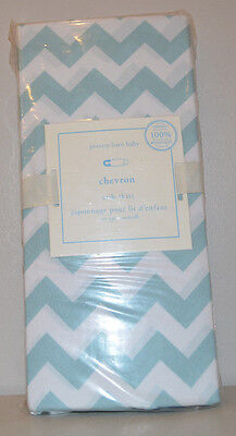 NIP Pottery Barn Kids Aqua HARPER Chevron Cotton Crib Bed Skirt
