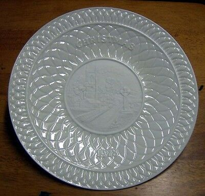 Belleek fine parian china 1973 Christmas Plate Yeats Epitaph   No Box
