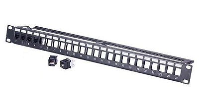 24 Port Empty Modular Keystone Patch Panel - Shielded (1U)