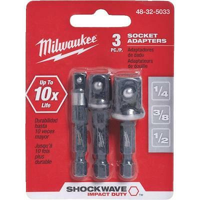 Shockwave Hex Shank to Socket 3-Piece Socket Adapter Set by Milwaukee 48-32-5033